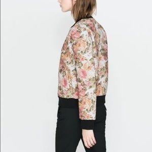 Zara Jackets & Coats - Zara floral polka dot bomber jacket